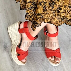 Sam Edelman Red Ankle buckled Sandals Wedges